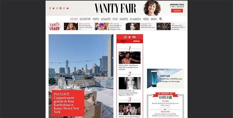 magazine web layout newspaper Vanity Fair