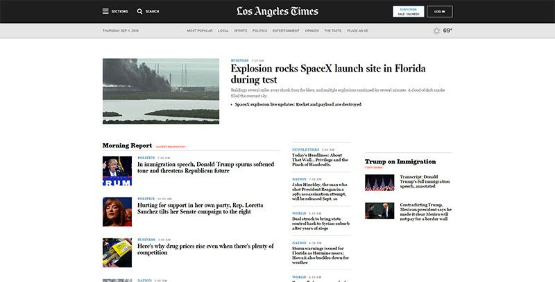 magazine web layout newspaper Los Angeles Times