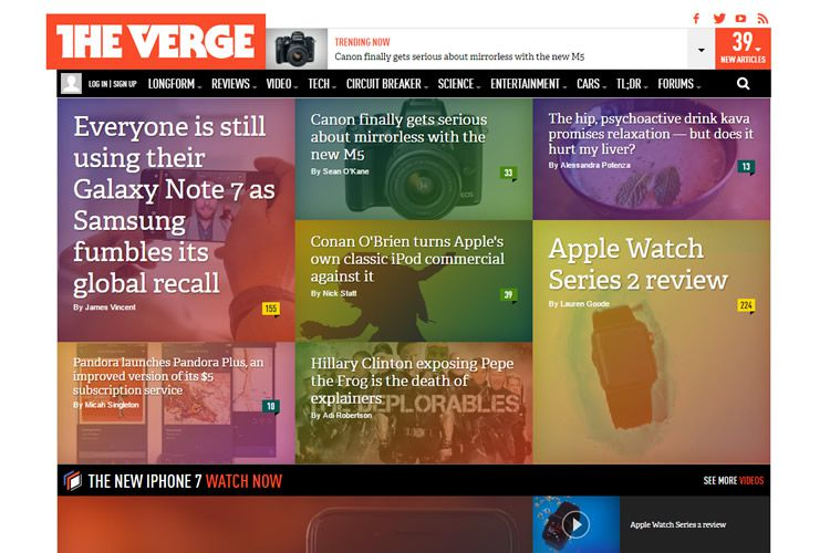 magazine web layout newspaper The Verge