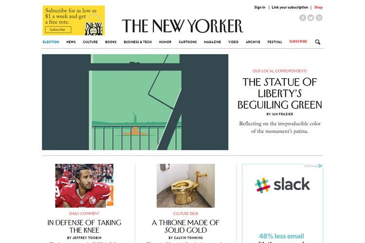 magazine web layout newspaper The New Yorker