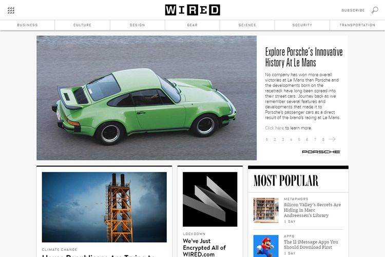 magazine web layout newspaper Wired