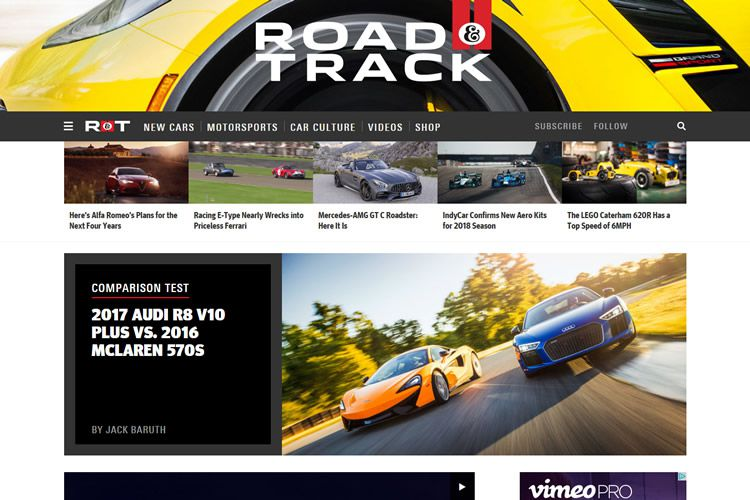 magazine web layout newspaper Road and Track