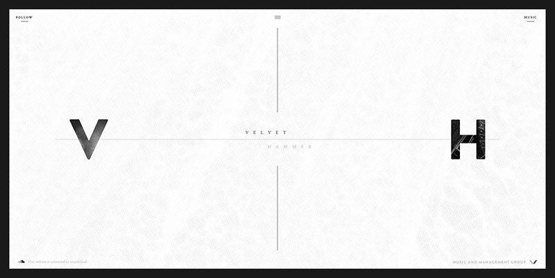 Velvet Hammer ultra minimal web design