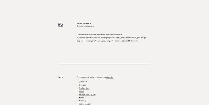 Michiel de Graaf ultra minimal web design