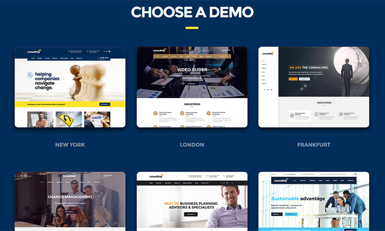 Multiple Layouts of Consulting WP WordPress Theme