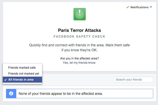 Facebook Safety Check screen