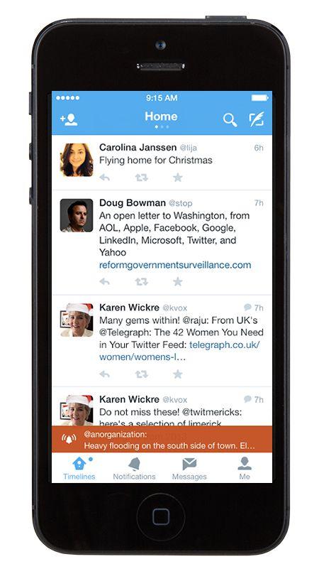 Example of alert twitter