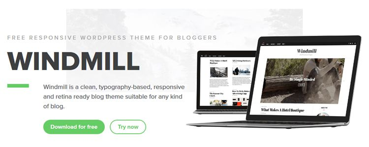 wordpress free theme windmill blog woocommerce typography