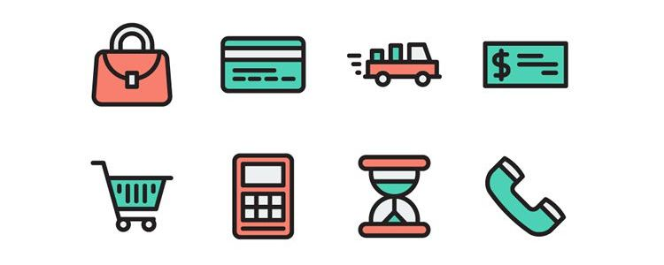 The Flat Stroke eCommerce Icon Set