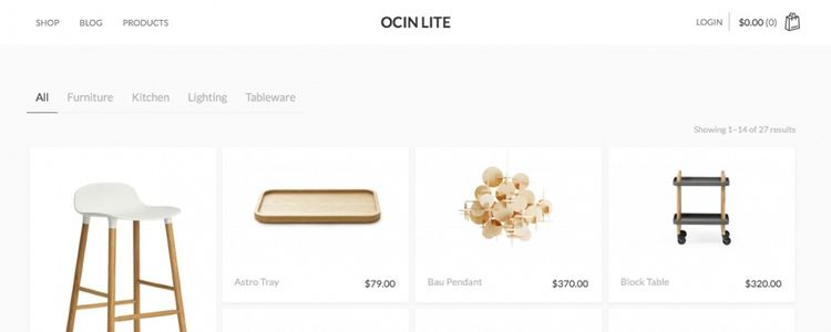 ocin woocommerce wordpress theme store free minimal clean