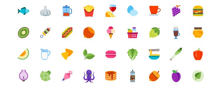 100 Colored Food Drink Icons