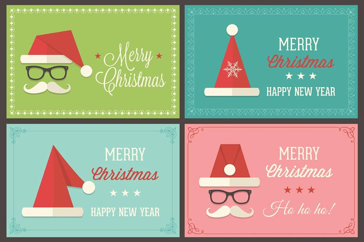 Delightful Retro Santa Cap Vector Greeting Card Templates Free Holidays