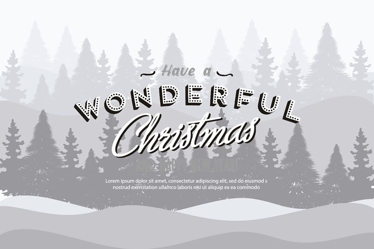Christmas Background Illustration with Retro Text free holidays