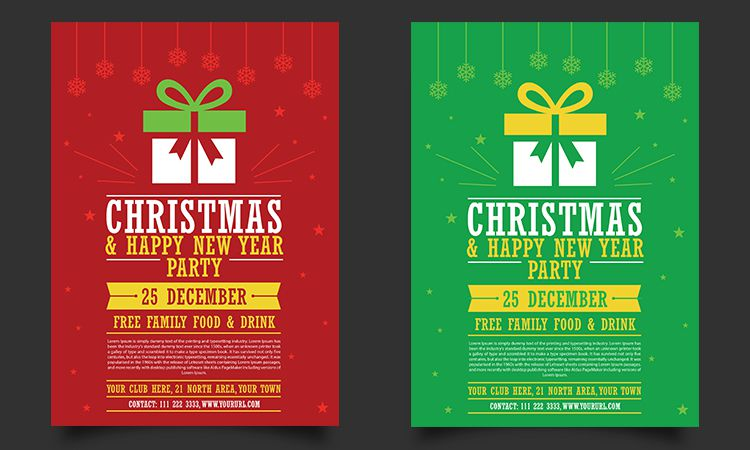 Free Christmas Happy New Year Party Flyer Template Mockup free holidays