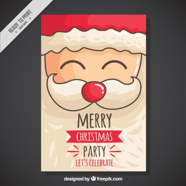 50 free christmas templates resources for designers christmas party invitation with hand drawn santa vector free holidays stopboris Gallery