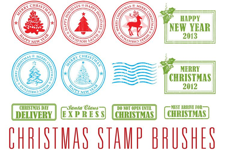 13 Christmas Stamp Brushes free holidays