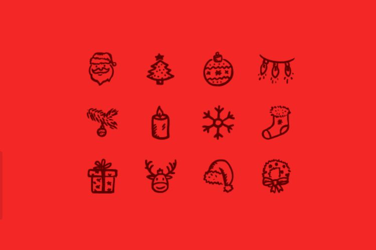 12 Hand-Drawn Style Merry Icons free holidays