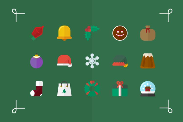 15 Flat Vector Icons for Christmas free holidays