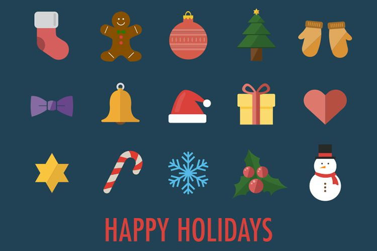 15 Flat Christmas Icons free holidays