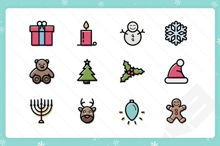 20 Outlined Color Thin Vector Christmas Icons free holidays