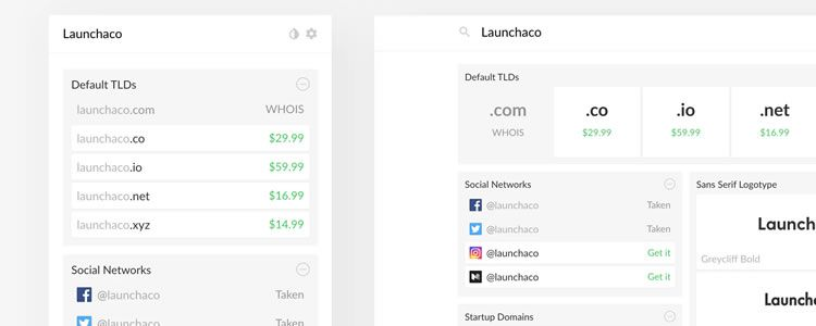 Launchaco handy tool instantly search domains social media handles logos