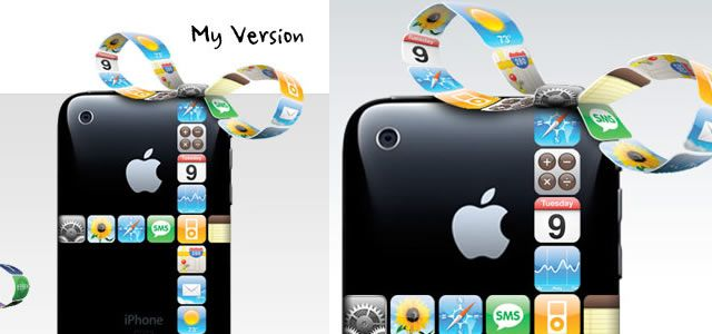 iPhone Gift Ribbon Photoshop Tutorial
