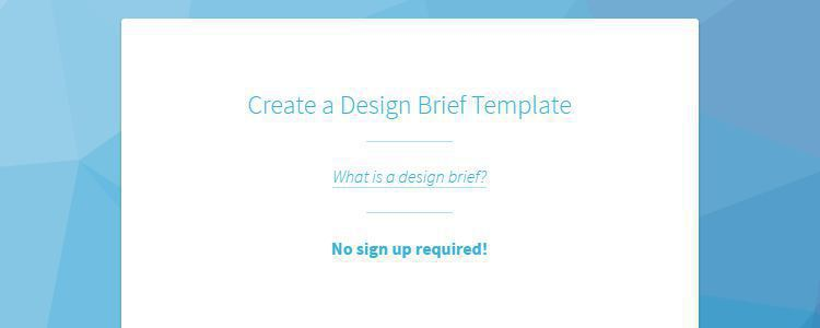 CreateBrief web-based tool for creating basic design briefs