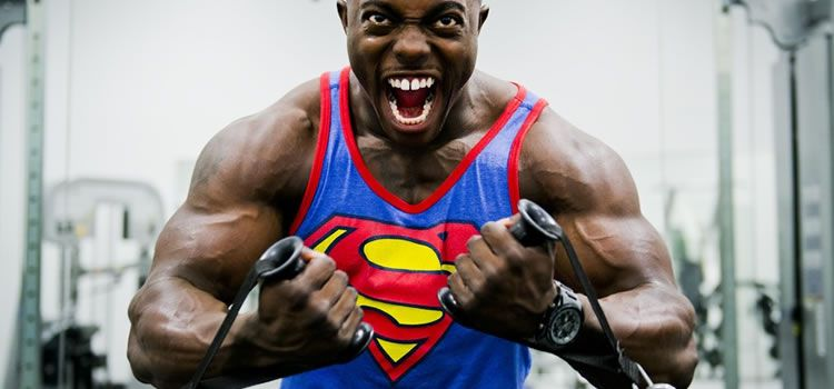 superman in gym weights