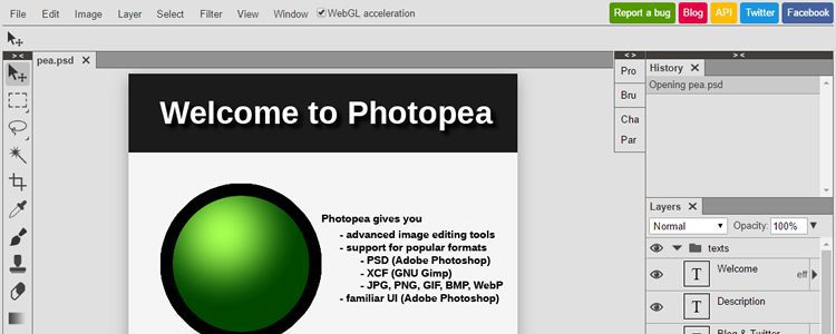 Photopea Photo Editor web-based photoshop psd