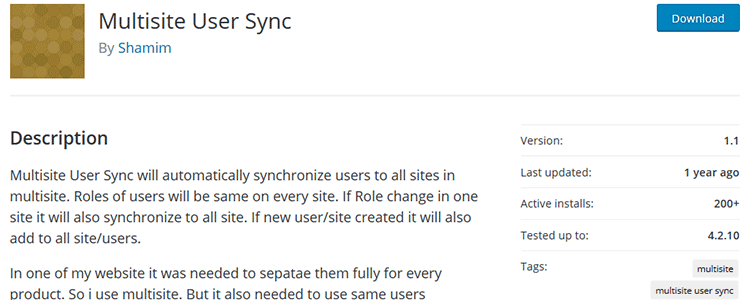 Multisite User Sync wordpreess plugin free