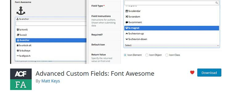 Advanced Custom Fields: Font Awesome