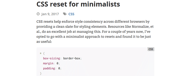 CSS reset for minimalists