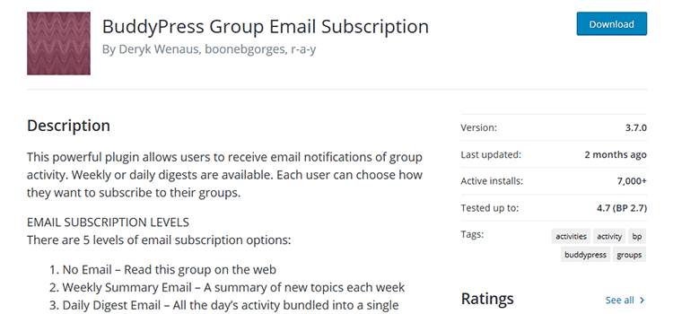 BuddyPress Group Email Subscription