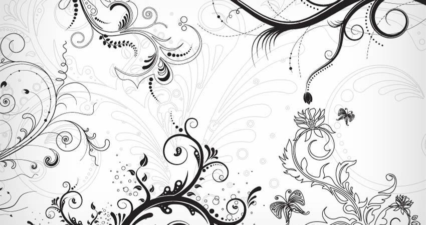 5 Floral Decorative Vector Ornaments template free illustrator