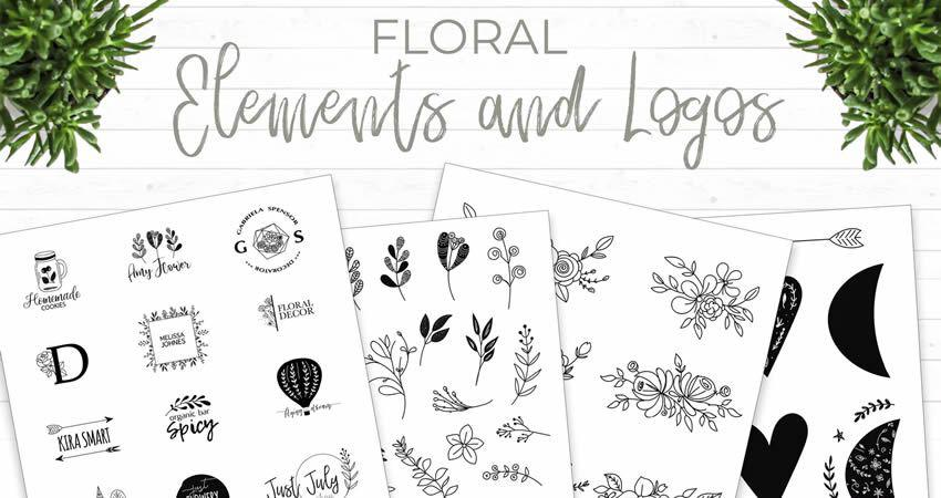 Floral Elements and Logos vector template illustrator