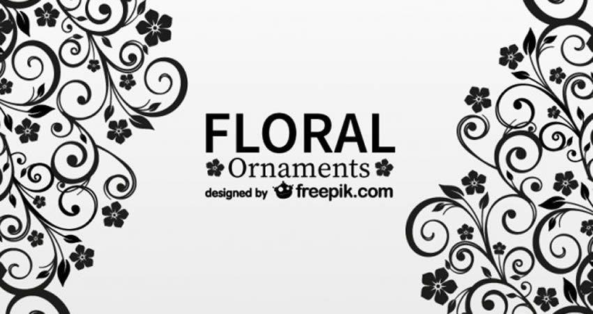 Black Floral Ornaments vector template free illustrator