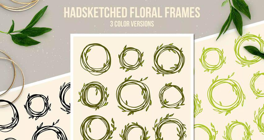 Handsketched Floral Frame vector template free illustrator