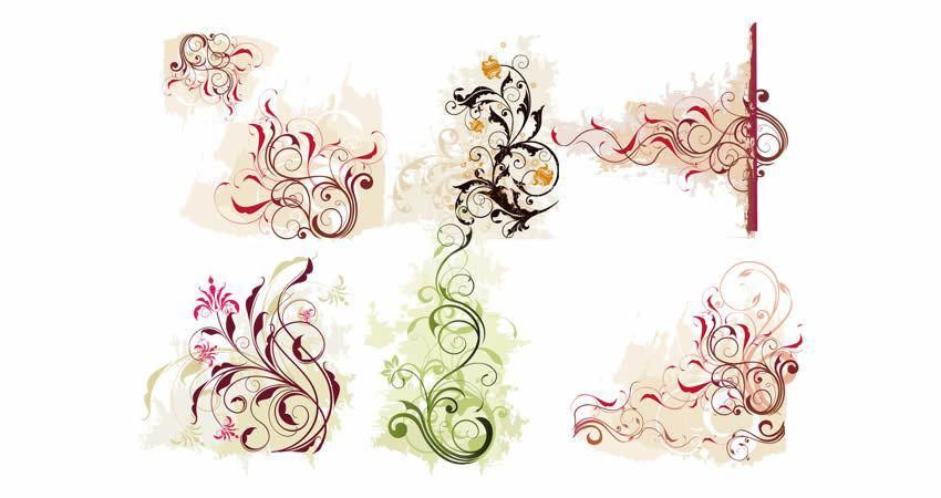 Swirl Flower vector template free illustrator