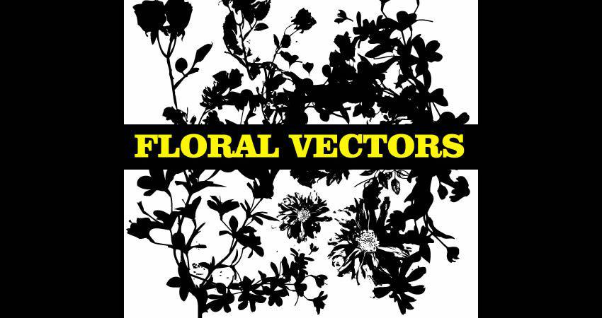 Floral Silhouette vector template free illustrator