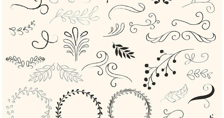 Hand Drawn Swirls Wreath vector template free illustrator