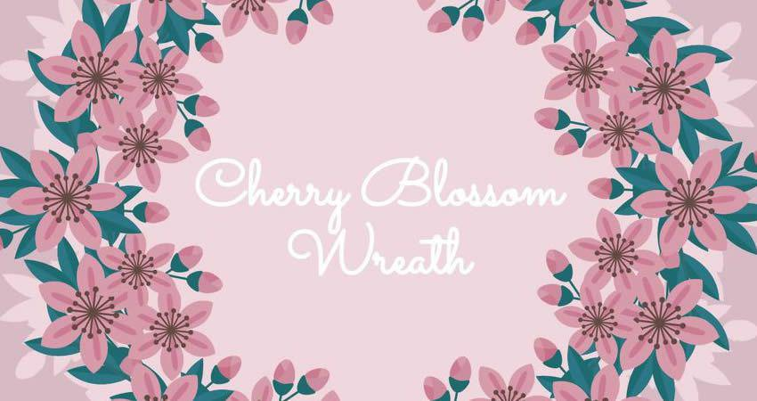 Cherry Blossom Wreath vector template free illustrator