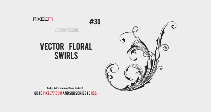 Floral Swirls vector template free illustrator