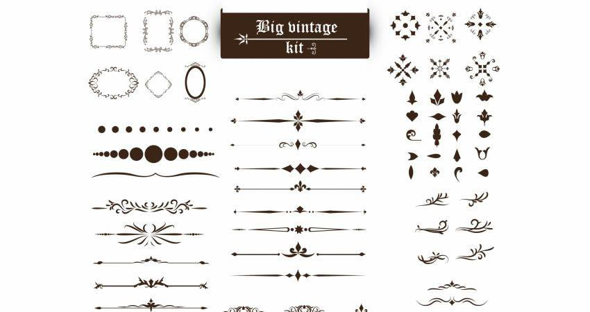 Vintage Ornaments Vector Kit template free illustrator