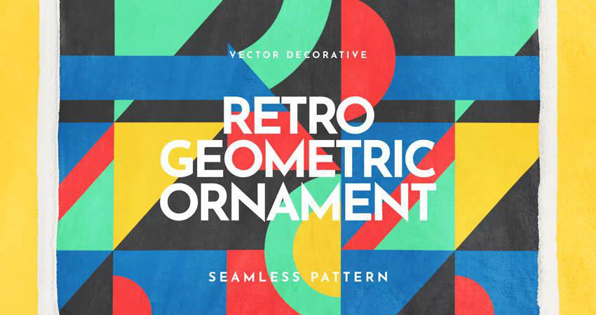 Retro Geometric Ornament Seamless Pattern vector template free illustrator