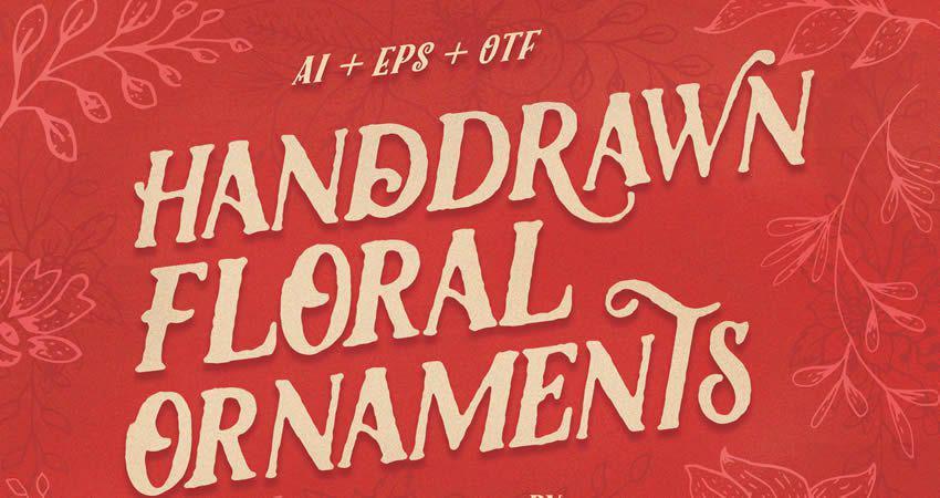Handdrawn Floral Ornament vector template free illustrator