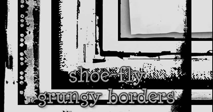 Grungy Border Brush Set vector template free illustrator