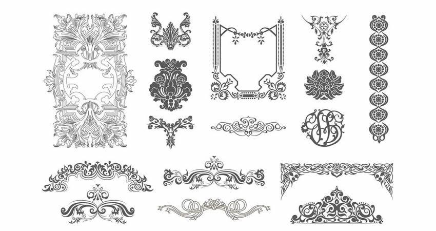 Victorian Vector Ornaments template free illustrator