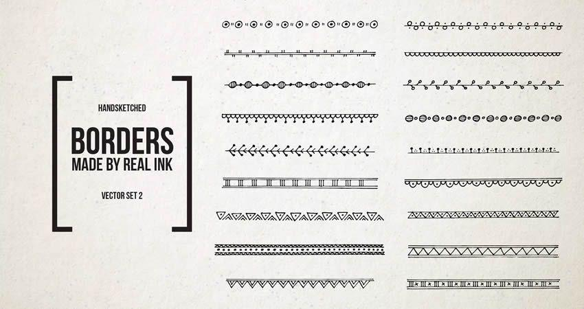 Ornamental Decorative Ink Borders Set vector template free illustrator