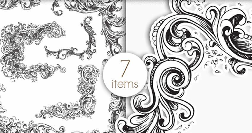 Floral Frames Vector Pack template free illustrator