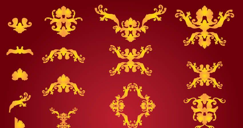 Classic Gold Vector Ornaments template free illustrator